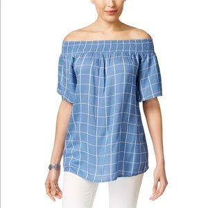 Style & Co Blue Poolside Check Off Shoulder Top